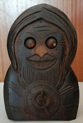 Black Florest Gnome Moving Eye Rare Clock. Antique C1900