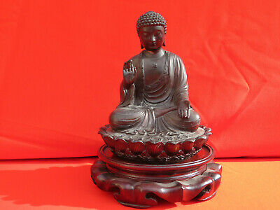 Vintage Chinese Bronze Buddha on Lotus Statue with Amazing Detail, WITH STAND