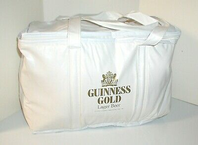 Vintage Guinness Gold Lager Beer White Insulated Vinyl Soft Cooler Bag W/Handle
