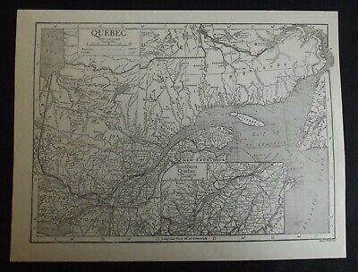 Vintage Map: Quebec, Canada, by Emery Walker, 1926, B/W
