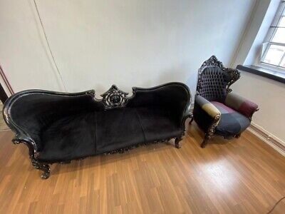 Black Ornate Chaise Longue Velvet Shabby Chic Matching Chair Also Available