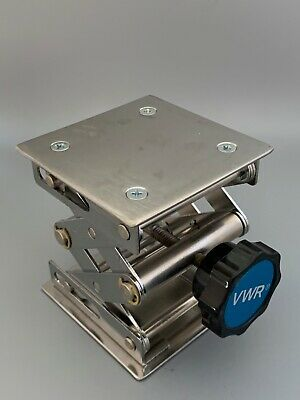 "VWR 3"" x 3"" STAINLESS STEEL SCISSOR LAB JACK LIFT. Excellent Condition"