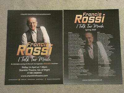 Francis Rossi I Talk Too Much 2020 Cancelled Concert Flyer Shanklin Iow 24/4/20