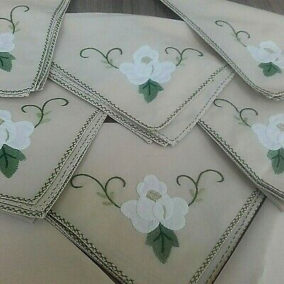 8 Vintage Linen Napkins Beige With A White Rose Design Vgc