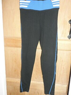 Fab Womens Pink By Victoria's Secret Black Cotton Long Yoga  Pants Size Small
