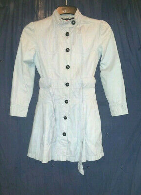 Girls grey marks and spencer lined trench coat size 9 - 10 years D5 K