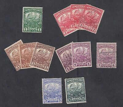 """KV117. Newfoundland Stamps 1919 """"Trail of the Caribou"""" 12 singles Used."""