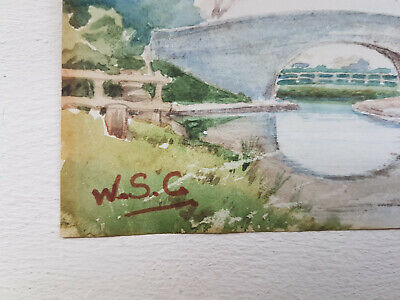 Winston Churchill Original Watercolour Landscape Painting Handsigned Not A Print
