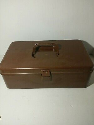 VTG WILSON Wil-Hold Brown Plastic Basket Weave Craft Sewing Box Removable Trays