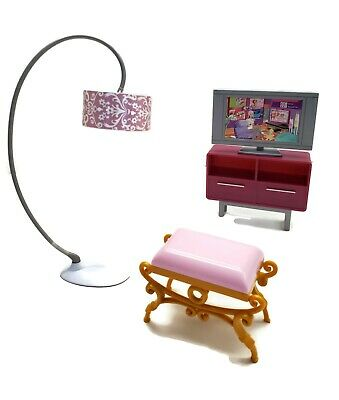 Barbie Mattel Mid Century Furniture Lot of 4 Television Lamp Seat Table