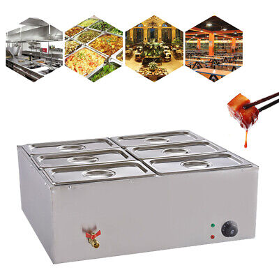 Electric Food Warmer 6 Pot/Lid Steam Table Bain-Marie Buffet Countertop Steamer
