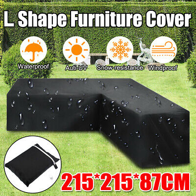 Waterproof Rattan Corner Furniture Cover Garden Outdoor Sofa Protect L Shape UK