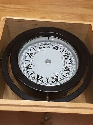 Vintage Wilcox Crittenden Gimbaled Compass In Dove Tailed Wood Box