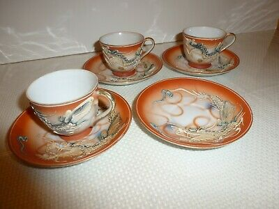 Vtg Betson Hand Painted Demitasse Cups/Saucers Japan Dragons  Excellent! Look!