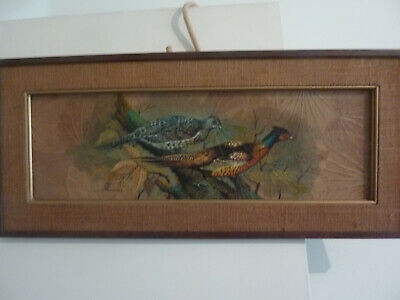Very Unusual Signed Oil Painting On Natural Leaves  Of Pheasant Birds