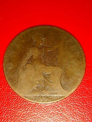 1896 Victorian UK One Penny Coin (1d). Very Collectable!