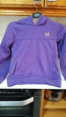Great girls LA Gear hooded jumper/sweatshirt age 7-8 in purple