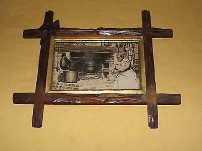 Vintage Framed Picture Of Woman Cooking By The Fireplace