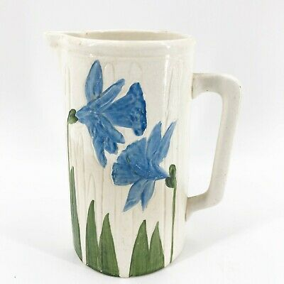 """Vintage Hand Painted Blue Tulip Ceramic Pitcher Marked Unique & Old 7 3/4"""" Tall"""