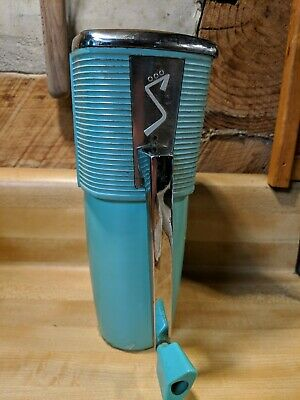 Sears vintage Swing-a-Way Ice Crusher teal blue complete with mount