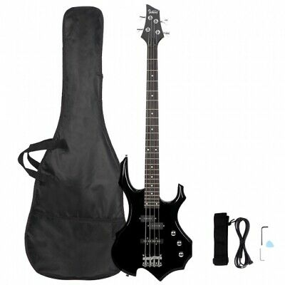 Glarry Burning Fire Electric Bass Guitar Full Size 4 String Sunset Black