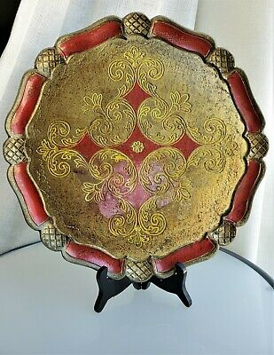 """Antique Vintage Italian Florentine Red&Gold 13"""" Hand made Tole Round Tray"""