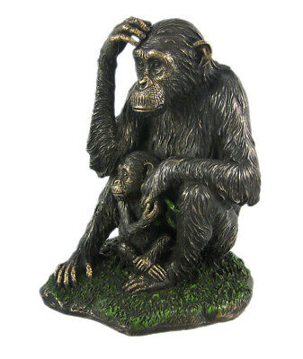 Mother And Child Chimpanzee Statue Baby Chimp Ape