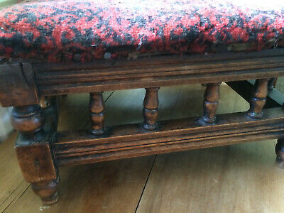 victorian old oak footstool needs recovering