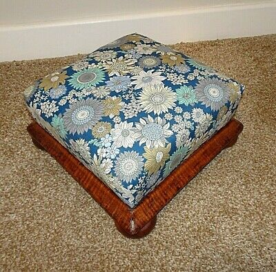 Antique 19th Century Victorian Oak & Upholstered Foot Stool (Blue Flowered)
