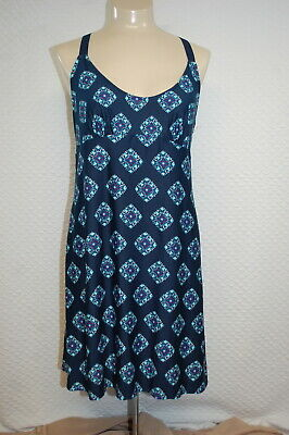 Womens Babydoll Nightgown DIAMOND MEDALLION Navy Blue RACERBACK Teal L 12-14