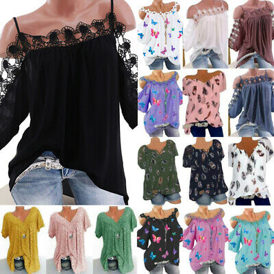 Women/'s Boho Floral Cold Shoulder T-Shirt Summer Holiday Baggy Casual Tee Tops