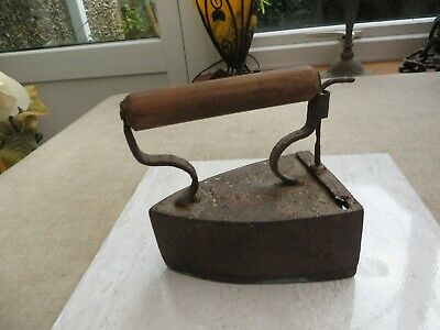 Antique box iron flat iron wooden handle lift up piece Doorstop? Decorators