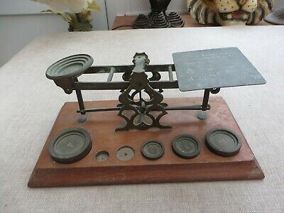 Antique postal weighing scales weights wooden base/brass top Engraved India RARE