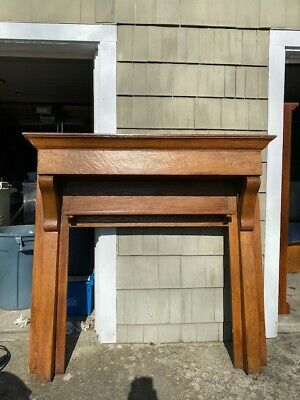 Antique Solid Oak Fireplace Mantle. Arts & Crafts Style. Architectural Salvage.