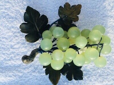 Vintage Chinese Carved Jade Hardstone / Stone Fruit - Grape with leaves