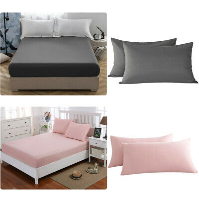 16'' Extra Deep Bed Fitted Sheet Fade Resistant Pillowcase Microfiber Queen Size