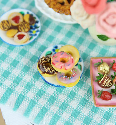 1:12 Scale 4 Assorted Doughnuts - Dollhouse Food Artist Miniature