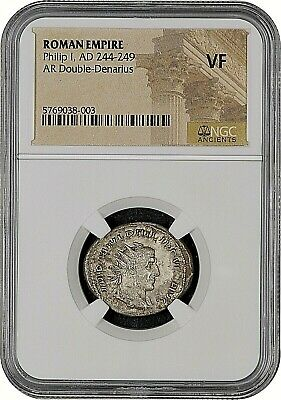Roman Empire - Philip I - Ad 244-249 - Ar Double-Denarius Ngc Vf - Free Shipping