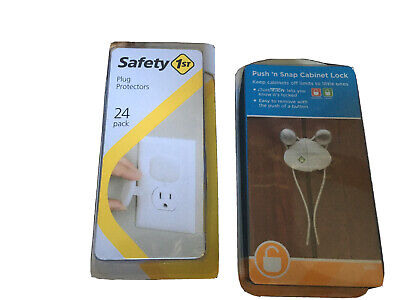 Push N Snap Cabinet Lock White 2 Pack Set - New And 24 Plug Covers