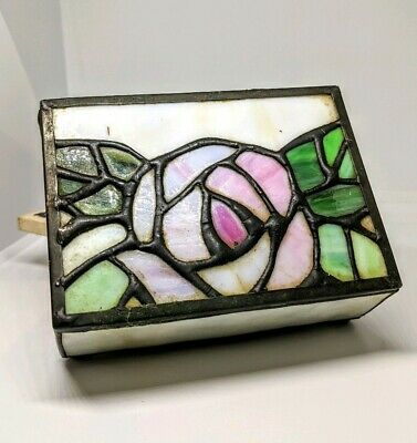 Small Vintage Stained Glass Rose Box vintage small jewelry trinket box flower