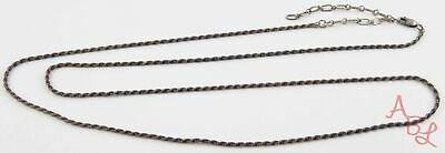 """Sterling Silver Vintage 925 Adjustable Long Double Rope Necklace 30"""" (11.6g)"""