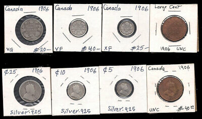 Canada - Large Cent,5,10 & 25 Cents 1906 Silver Cv $125