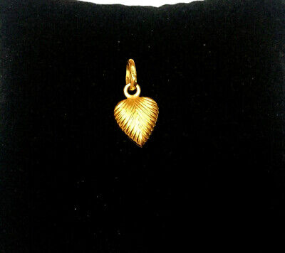 14K Yellow Gold Double Sided Puffed Heart Charm Pendant - ITALY