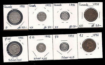 Canada - 1 Large Cent & 5 & 10 & 25 Cents - 1892 - Silver - Cv $210