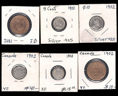 Canada - 1 Large Cent, 5 & 10 Cents 1902 Silver Cv $65