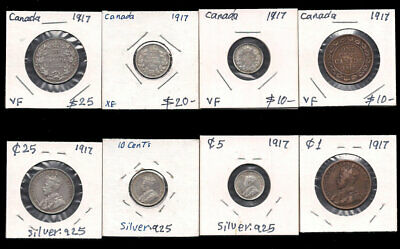 Canada - 1 Large Cent,5,10 & 25 Cents 1917 Silver Cv$65