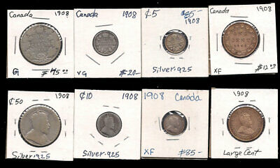 Canada - Large Cent,5,10,50 Cents 1908 Silver Cv$170