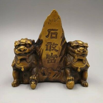 Chinese Antique Brass lion a pair home decoration 石敢当