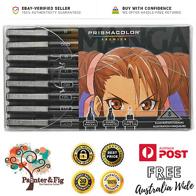 Prismacolor Manga Illustration Markers - Sepia & Black, Fine Line, Brush, Chisel