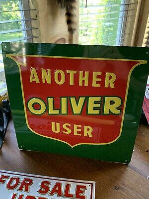 Vintage Embossed Another Oliver User Tractor Sign Farm Oil Gas Soda Seed Metal